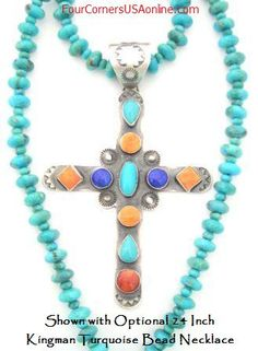 Turquoise Lapis Spiny Cross | Native American Jewelry | Four Corners USA