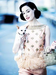 Dita von Teese and Dior.