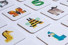 Animalario - Animal Alphabet on Behance Italian Alphabet, Animal Alphabet, Illustration, Playing Cards, Education, Games, Fabric, Books, Behance