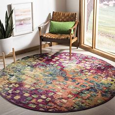 Safavieh Monaco Collection MNC225D Modern Abstract Watercolor Pink and Multi Round Area Rug (3' Diameter). A colorful area rug for the color fearless. The easy way to add color to a neutral decor. Add color using accessories. #colorfularearug #color #arearugs #brightrugs #funkthishouse