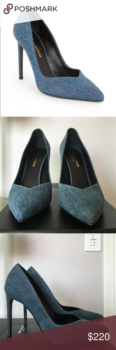 Saint Laurent Paris Light Blue shoes size 38.5 Gorgeous Saint Laurent denim pumps in 38.5. Worn once from car to restaurant and back to the car. No wear and tear except for the soles. Heels are in perfect condition. Saint Laurent Shoes Heels