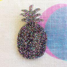 Dark Confetti Glitter Pineapple Brooch by EachToOwn on Etsy, $35.00