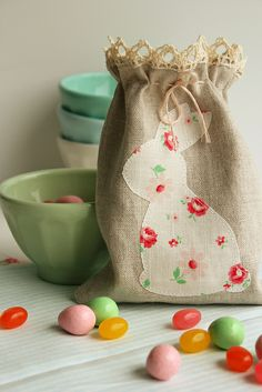 wouldn't this be nice for a table top filled with goodies? bunny sack by nanaCompany, via Flickr