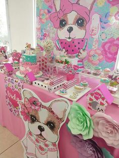 Virginia V's Birthday / Dogs / Puppies - Photo Gallery at Catch My Party Dog Themed Parties, Puppy Birthday Parties, Puppy Party, Dog Birthday, Birthday Party Themes, Girls Party Decorations, Girl And Dog, Animal Party, Dessert Table