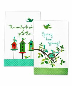 """""""Early Bird"""" and """"Spring has sprung"""" kitchen towels featuring birdhouses and bird nests.  Absolutely adorable!"""