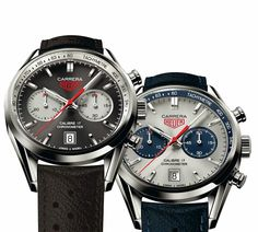 Tag Heuer presented two new models of the Carrera Calibre 17 Jack Heuer Edition. Reference CV5111 has blue chronograph counters and tachymetre flange while reference CV5110 features an anthracite dial with silver chronograph counters (basically inverting colours compared to the model presented last year).