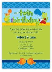 Darling Deep Sea Twin Boys Birthday Invitation - Under the Sea, perfect for a summer water fun or swimming party theme.  Custom Twins Birthday Invitations from the leader in Twins & Multiples stationery products - www.amyscardcreations.com - Cards as low as $1.15 - Thank you for shopping with me and supporting small business!