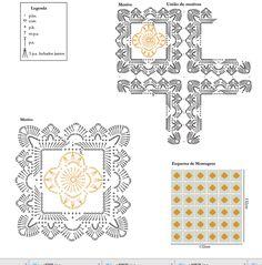 Manta tejida al crochet con grannys - con diagramas y patrones   Crochet y Dos agujas