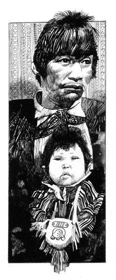 Père et enfant chinois par Sergio Toppi