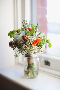 Wildflower arrangement for the windows of the church