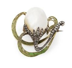 A pearl and plique-a-jour enamel brooch modeled as a stylized snow drop, set with a large baroque pearl, the stem set with rose cut diamonds, the leaves modelled in plique-a-jour enamel, in a fitted box by HESSENBERG &CO, HAMBURG. by Dreamer412