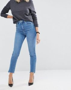 ASOS FARLEIGH Slim Mom In Jecca Pretty Midwash with Side Tabs and Stepped Hem