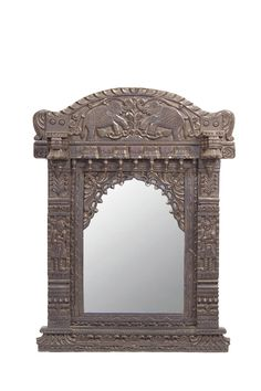 Hand carved elephant mirror from Rajasthan! www.de-cor.com