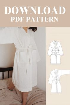 Available on Etsy shop. Camilla Kimono Robe Digital Pattern PDF Sewing Pattern for Women UK / EU / US AU Kimono Sewing Pattern, Vintage Sewing Patterns, Dress Sewing, Sewing Clothes Women, Diy Clothing, Dressing Gown Pattern, Sewing Lingerie, Digital Pattern, Pattern Making