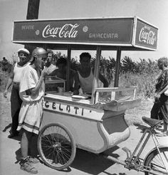 Carrettino dei gelati=i love this without the coca cola sign. would recreate this for an italian festival event.