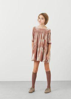Платье из шелка и бархата   MANGO KIDS