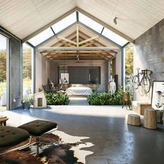 open up, ceiling, barn style