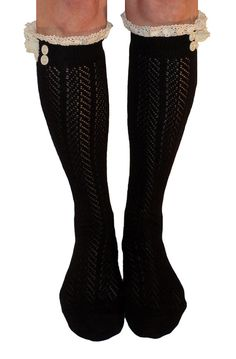 Womens Black Button Boot Socks With Lace Trim, Crochet Lace Button Boot Socks, gift  Button Crochet Lace Chevron Pattern Open Knit Boot Socks are so