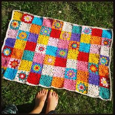 Colour bomb blanket ~ crochet by The little bee