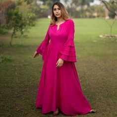 Magenta Pink Dress with Bell Sleeve