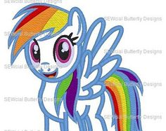 Ensemble de 5 poupées My Little Pony inspiré des motifs de broderie machine applique Rainbow Dash, Flutterby, rareté, Pinkie Pie et Twilight 5 x taille 7