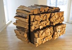 The chest of drawers reminds a stack of firewood but there are four built-in drawers in it.