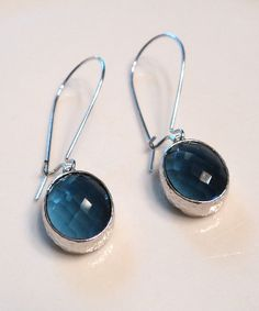 Hey, I found this really awesome Etsy listing at https://www.etsy.com/listing/171673886/sapphire-blue-glass-and-silver-dangle