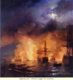 Ivan Aivazovsky. The Battle of Chesme.