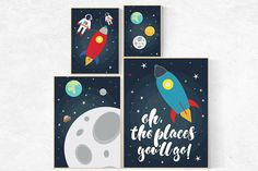 Oh the places you'll go, outer space nursery wall art, Space nursery decor, nursery set, space themed nursery, kids room, baby boy nursery