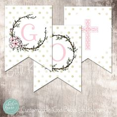 "First Communion ""God Bless"" Banner {customizable with name} by Beth Kruse Custom Creations"