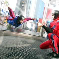 Indoor Skydiving! Think Dad's too chicken for the real thing? Try this instead! Plus, the whole family can go together. #FathersDayGifts #GiftForDad #IndoorSkydiving