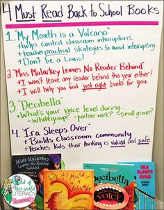 Back to School Tip: Choose books to read to your class that focus on setting management expectations and building a strong classroom community. Here are four of my favorites! First Day Of School Activities, 1st Day Of School, Beginning Of The School Year, 3rd Grade Reading, Third Grade, Grade 2, Back To School Hacks, School Ideas, Teaching Reading
