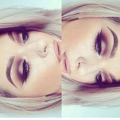 Neutral smokey eye cut crease with a nude lip