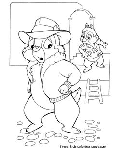 Printable Cartoon Chip And Dale In Danger Coloring Page