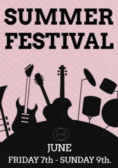 A summer festival poster. A background image of musical instruments. White text shows the date of the festival taking place on June - Festival Posters, Musical Instruments, Background Images, Musicals, June, Summer, Movie Posters, Music Instruments, Summer Time