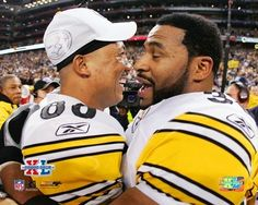 """Hines Ward & Jerome Bettis, two of my favorite Steelers ever, after their win in Super Bowl XL. """"I'm going to Disney World ~ and I'm taking the Bus! Steelers Meme, Steelers Pics, Pittsburgh Steelers Football, Pittsburgh Sports, Best Football Team, Steelers Stuff, Steelers Super Bowls, Jerome Bettis, Super Bowl Xl"""