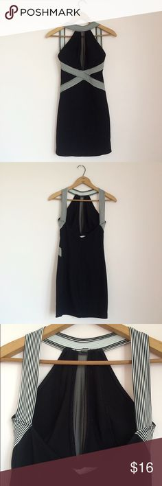 """Open Back Dress Black open back strappy bodycon dress. Mesh peep front. Size S. I usually wear a S-M and it's pretty tight on me. Probably best for a true S or XS. Very stretchy. 90% polyester, 10% spandex. Measures approximately 31"""" long from front top center to bottom. Great condition, no flaws, no fading🌸 Peep Dresses Backless"""
