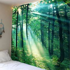 Sunlight Forest Wall Hanging Tapestry - Green W59 Inch * L51 Inch Mobile