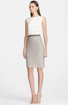 Free shipping and returns on St. John Collection Ribbon Knit Dress with Liquid Satin Bodice at Nordstrom.com. Centered pleats trace soft dimension down the lustrous satin bodice of a refined knit dress that gives the illusion of two pieces. Tonal ribbons weaving through the knit skirt bring artisanal dimension to the design while a darker waist accentuates the feminine silhouette.