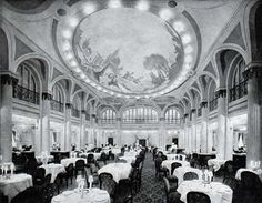 View of The Main First Class Dining Saloon on the S.S. Leviathan of the United States Lines circa 1923.