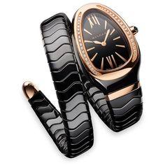 BVLGARI Serpenti Diamond, 18K Rose Gold  Black Ceramic Wraparound... ($10,500) ❤ liked on Polyvore featuring jewelry, watches, accessories, gold, wrap bracelet watch, bezel watches, diamond bracelet watch, watch bracelet and diamond jewelry
