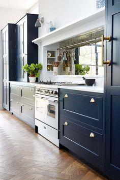 Real home: A blue and bright Victorian kitchen extension – Kitchens WOW – Kitchen Ideas For 2019 Kitchen Mantle, Home Decor Kitchen, Kitchen Interior, New Kitchen, Home Kitchens, Kitchen Dining, Kitchen White, Glass Kitchen, Blue Shaker Kitchen