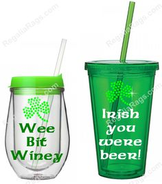 Something new and fun for St. Patty's Day-  St. Patty's Day Irish Premium Print Vinyl & Rhinestone Stemless Wine or Tumbler w/ Straw .Wee Bit Winey Shamrock Wine Glass Irish Rhinestone Shirt for St. Patty's Day! http://www.regaliarags.com/StPattysDayTumblerWineGlass.htm .  More Irish Rhinestone Tees here: http://www.regaliarags.com/irishrhinestoneshirts.htm