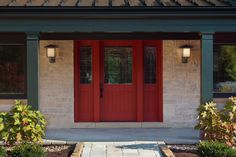 Mahogany v-groove shaker style glass exterior door with matching side lites.