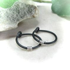 Small Hoop Earrings Black Hammered with Sterling Silver Wrap Hoop Earrings Black Hammered Sterling Silver Wrapped – Hoops, Everyday Hoops, Black Hoops, Niobium H Little Hoop Earrings, Gold Plated Earrings, Black Earrings, Gold Studs, Statement Earrings, Gifts For Mom, Fine Jewelry, Piercings, Sterling Silver