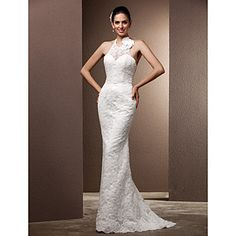 trompete / sereia cabeçada de varredura / escova treinar vestido de noiva de renda – BRL R$ 360,17 - corte da saia