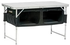"""ME: Why the hell didn't I think of this? There is always so much """"dead space"""" under tables, even if you do put your cooler under there! Sew a rectangle, attach to your folding table, put ply wood on bottom of fabric """"box"""" to give you your shelf! Awesome"""