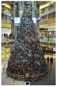 Bike Christmas Tree. This is one way to get in the holiday spirit!