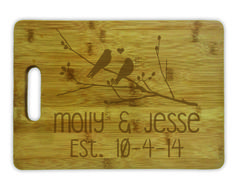 Cutting Board w/ Handle - Birds on Branch Personalized