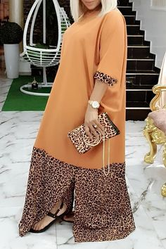 Lovely Casual Patchwork Leopard Printed Floor Length Plus Size Dress African Dresses For Kids, African Maxi Dresses, Latest African Fashion Dresses, African Print Fashion, African Attire, Korean Fashion, Look Plus Size, Classy Dress, Fashion Clothes